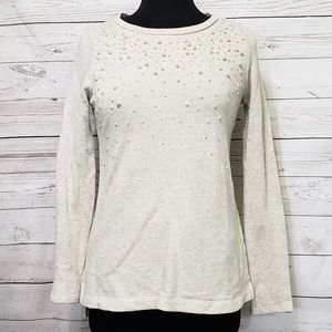 Crown & Ivy Pearl Embellished Sweater